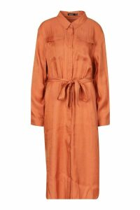Womens Plus Metallic Shirt Midi Dress - orange - 18, Orange
