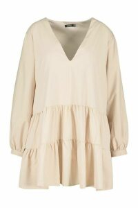 Womens Plus Tiered V Neck Smock Dress - beige - 24, Beige