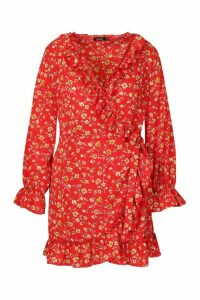 Womens Plus Floral Print Ruffle Wrap Dress - red - 20, Red