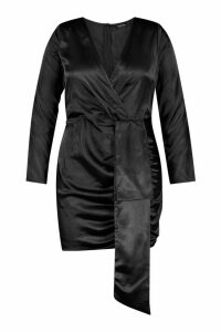 Womens Plus Satin Plunge Ruched Wrap Dress - black - 20, Black