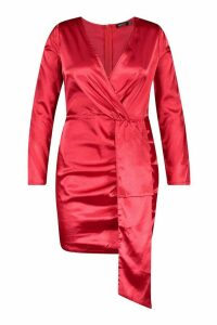 Womens Plus Satin Plunge Ruched Wrap Dress - red - 20, Red