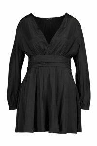 Womens Plus Plunge Ruched Waist Frill Skater Dress - black - 18, Black