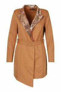 Womens Plus Self Belt Sequin Collar Blazer Dress - metallics - 20, Metallics