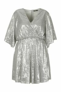 Womens Plus Sequin Kimono Sleeve Skater Dress - metallics - 22, Metallics