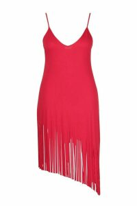 Womens Plus Tassel Strappy Beach Dress - red - 20, Red