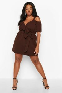 Womens Plus Plunge Ruffle Belted Mini Dress - brown - 26, Brown