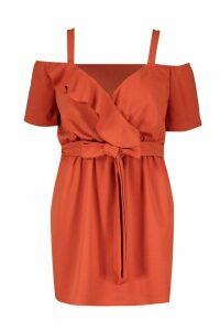 Womens Plus Plunge Ruffle Belted Mini Dress - orange - 16, Orange