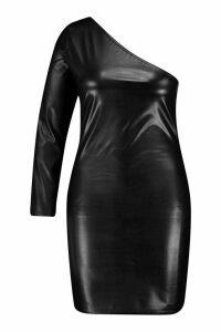 Plus PU One Shoulder Bodycon Dress - black - 16, Black
