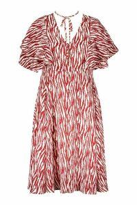 Womens Plus Zebra Print Bolo Tie Angel Sleeve Midi Dress - red - 16, Red