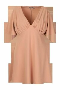 Womens Plus Angel Sleeve Ruched Detail Swing Dress - pink - 20, Pink