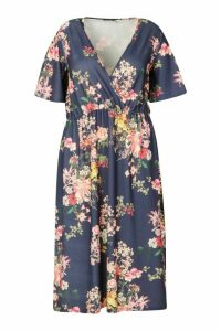 Womens Plus Floral Wrap Flutter Sleeve Midi Dress - navy - 24, Navy