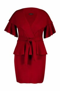 Womens Plus Ruffle Wrap Tie Waist Skater Dress - red - 20, Red