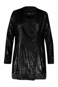 Womens Plus Sequin Wrap Blazer Dress - black - 24, Black