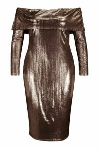 Womens Plus Metallic Off The Shoulder Midi dress - brown - 20, Brown