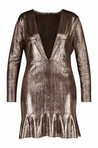 Womens Plus Metallic Plunge Ruffle Skater Dress - brown - 20, Brown