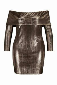Womens Plus Metallic Bardot Long Sleeve Bodycon Dress - brown - 20, Brown