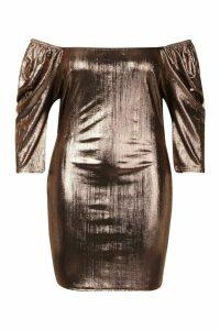 Womens Plus Metallic Puff Sleev Bodycon Dress - brown - 20, Brown