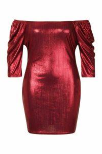 Womens Plus Metallic Puff Sleev Bodycon Dress - red - 20, Red