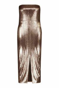 Womens Plus Metallic Square Neck Midaxi Dress - brown - 20, Brown
