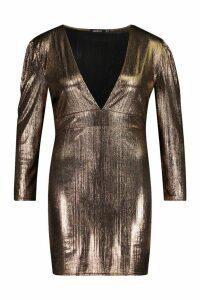 Womens Plus Metallic Puff Sleeve Plunge Mini Dress - brown - 20, Brown