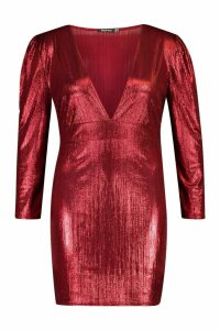 Womens Plus Metallic Puff Sleeve Plunge Mini Dress - red - 20, Red