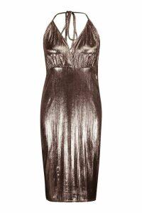 Womens Plus metallic Wrap Front Midi Dress - brown - 20, Brown