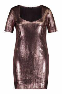 Womens Plus Metallic Sweetheart Mini Dress - pink - 20, Pink
