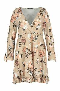 Womens Plus Floral Ruffle Wrap Skater Dress - beige - 20, Beige