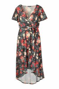 Womens Plus Floral Wrap Midi Dress - black - 20, Black