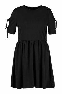 Womens Plus Tie Sleeve Detail Smock Dress - black - 20, Black
