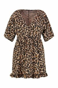 Womens Plus Leopard Ruffle Wrap Dress - brown - 20, Brown
