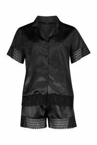 Womens Lace Trim Satin Button Through PJ Short Set - black - 16, Black