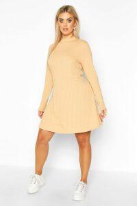 Womens PLus Jumbo Rib Long Sleeve Smock Dress - beige - 20, Beige