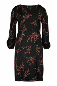 Womens Plus Floral Long Sleeve Midi Dress - black - 20, Black