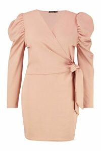 Womens Plus Puff Sleeve Wrap Tie Waist Dress - pink - 22, Pink