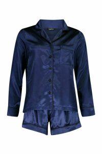 Womens Satin Long Sleeve PJ Short Set - blue - 16, Blue