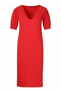 Womens Plus Puff Sleeve V Neck Midi Dress - red - 20, Red