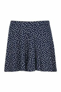 Womens Plus Polka Dot Floaty Shorts - navy - 16, Navy