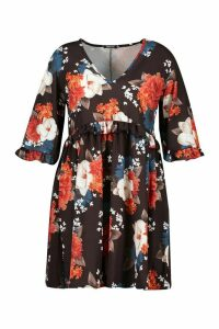 Womens Plus Ruffle Plunge Woven Floral Smock Dress - navy - 20, Navy