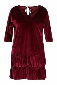 Womens Plus Velvet Tiered Smock Dress - 18, Red