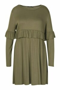 Womens Plus Ruffle Smock Dress - green - 20, Green