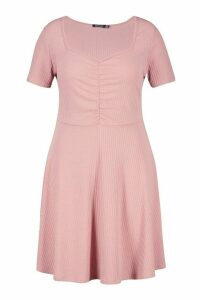 Womens Plus Soft Rib Ruched Detail Skater Dress - pink - 20, Pink