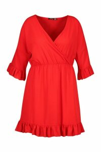Womens Plus Ruffle Sleeve Wrap Front Skater Dress - red - 24, Red