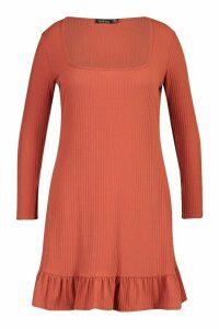 Womens Plus Soft Rib Ruffle Hem Shift Dress - orange - 16, Orange
