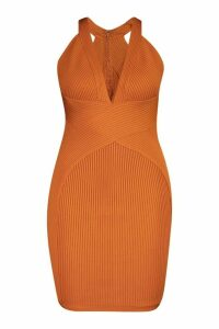 Womens Plus Plunge Sculpting Bandage Mini Dress - orange - 20, Orange