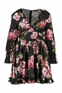 Womens Plus Floral Ruffle Panel Smock Dress - black - 18, Black