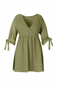Womens Plus Tie Sleeve Wrap Smock Dress - green - 26, Green