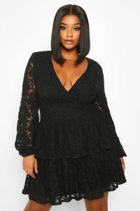 Womens Plus Lace Plunge Ruffle Skater Dress - black - 20, Black