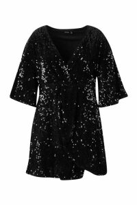 Womens Plus Sequin Twist Front Dress - black - 24, Black