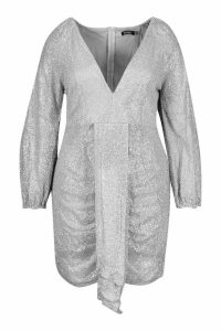 Womens Plus Sequin Plunge Ruched Detail Dress - grey - 20, Grey